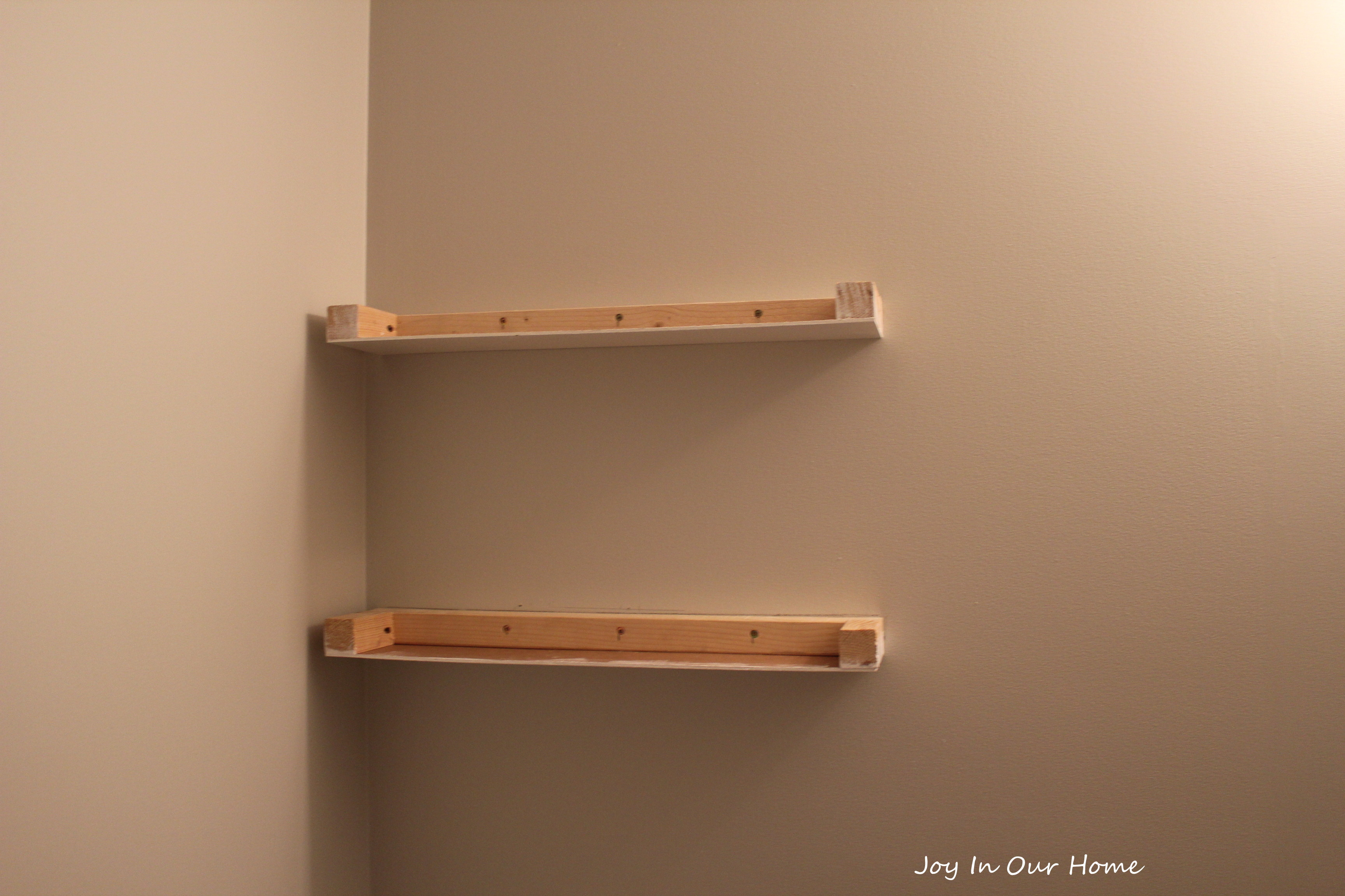 Easy diy floating shelves tutorial joy in our home for Easy diy shelves